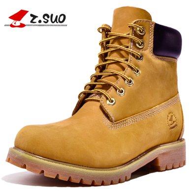 Z.Suo/走索男鞋靴子男馬丁靴男白色英倫皮靴情侶靴軍靴短靴 10061