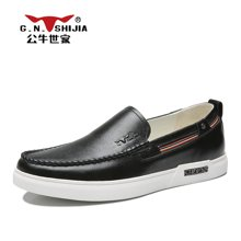公牛世家舒适男鞋男士皮鞋软面皮鞋韩版休闲鞋透气套脚豆豆鞋男 888423