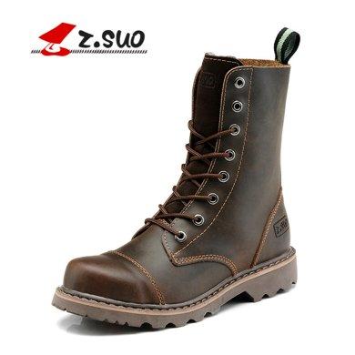 Z.Suo/走索時尚情侶靴男款潮流靴子英倫馬丁靴高幫軍靴潮鞋 ZS8818