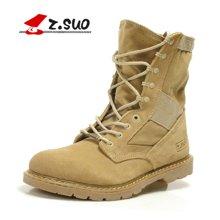 Z.Suo/走索加绒男靴保暖棉靴户外沙漠靴潮流中筒靴反绒皮靴子 ZS988M