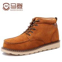 马登雪地靴男士棉鞋马丁靴男靴防水反绒皮短靴防滑男鞋保暖加绒厚 1407026