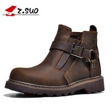 Z.Suo/走索加絨女靴搭扣情侶靴英倫潮流馬丁靴潮復古工裝女鞋 ZS237M