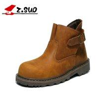 Z.Suo/走索情侶靴搭扣沙漠靴英倫女靴馬丁靴潮復古工裝女鞋 ZS227
