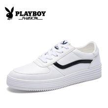 花花公子男鞋秋季增高板鞋韩版小白鞋黑色白色潮鞋男士休闲鞋子男CX39304