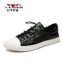 公牛世家男鞋板鞋韩版潮流百搭小黑潮鞋皮鞋子男士休闲鞋 888460