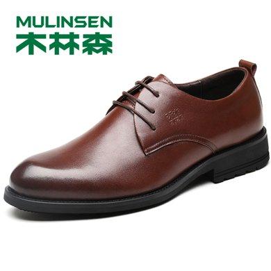 木林森男鞋秋季牛皮男士商務皮鞋休閑鞋透氣圓頭正裝鞋子 270096
