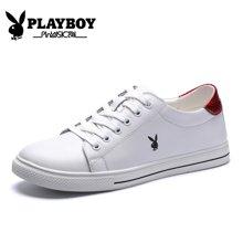 花花公子秋季男鞋透气真皮小白鞋男士休闲鞋平底白鞋子白色板鞋男CX39321