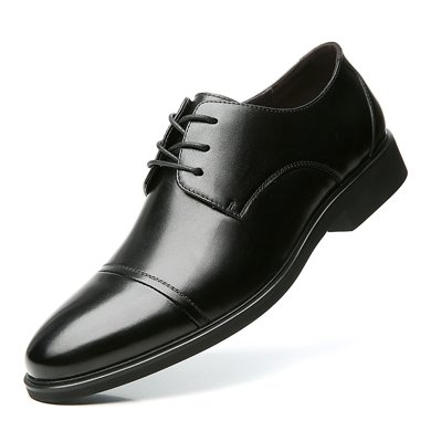 公牛世家男鞋時尚皮鞋青年男士商務正裝皮鞋子尖頭系帶婚鞋 888504
