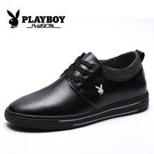 花花公子男鞋隐形内增高板鞋韩版秋季男士青年商务休闲小皮鞋子潮CX39355