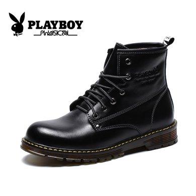 花花公子秋季男靴子英倫潮馬丁靴男真皮皮靴軍靴男士短靴高幫男鞋CX39370