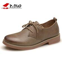Z.Suo/走索女鞋马丁鞋女士休闲鞋英伦单鞋工装鞋休闲皮鞋女低帮鞋 ZS18100N