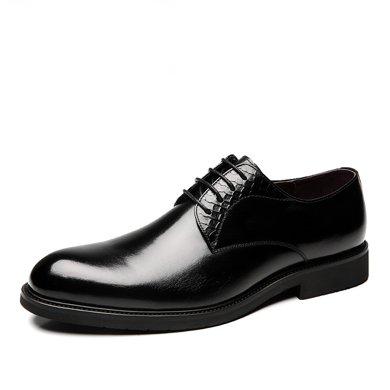 公牛世家男鞋商務正裝皮鞋圓頭皮婚鞋男士英倫潮流德比鞋子 888502