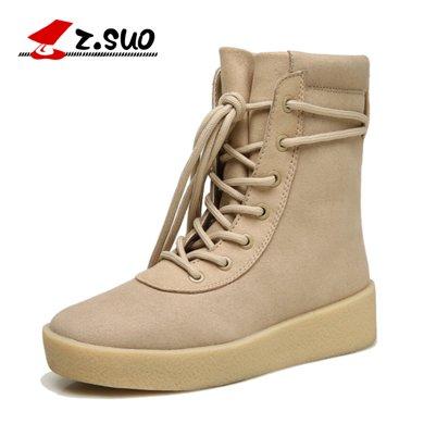 Z.Suo/走索女鞋馬丁靴女士短靴英倫雪地女靴子潮流女士休閑鞋系帶 ZS18616N