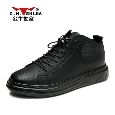 公牛世家休闲鞋男牛皮户外板鞋舒适休闲增高鞋韩版时尚潮鞋 888616