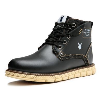花花公子男靴?#34892;?#31179;冬季真皮马丁靴潮流军靴男士高帮短靴沙漠靴子W37593
