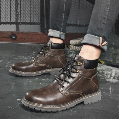 潮牌男鞋新款馬丁靴戶外休閑高幫靴子工裝時尚軍靴MR-K0631