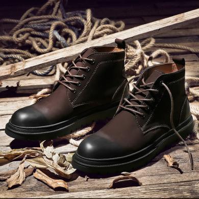公牛世家馬丁靴男短靴子時尚復古短靴潮男士高幫鞋男靴 888602