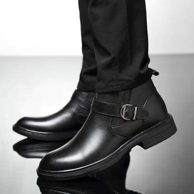 公牛世家男鞋加绒皮鞋男高帮鞋牛皮棉鞋英伦潮男士商务休闲鞋 9911