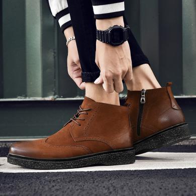 公牛世家男鞋商務日常休閑皮鞋高幫韓版潮男士牛皮短靴子 888609