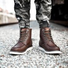 德國駱駝動感男靴秋冬新款中高幫系帶加絨保暖棉靴潮流短靴子男馬丁靴 18223