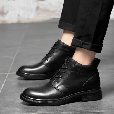 公牛世家男士棉鞋商务休闲时尚潮流牛皮保暖高帮男靴鞋 9912