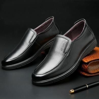 公牛世家皮鞋?#20449;?#30382;商务休?#34892;?#30007;士套脚皮鞋?#32844;中?888628