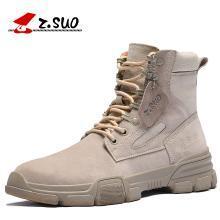 Z.Suo/走索冬季馬丁靴男潮百搭高幫鞋中幫牛皮英倫雪地靴軍靴工裝短靴子 ZS909