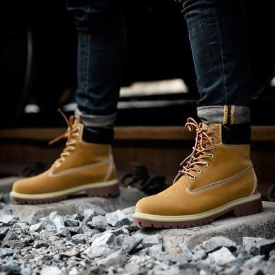 德國駱駝動感男靴大黃靴時尚潮流男士短靴馬丁靴機車靴 18193