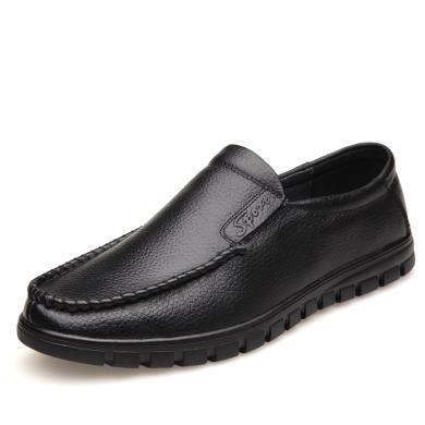 牧惠森秋季牛皮男士套腳皮鞋軟底透氣舒適休閑百搭商務男鞋  H8826