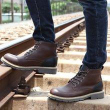 西瑞新款馬丁靴硬漢高幫工裝靴拼接時尚男靴毛男靴DK8001