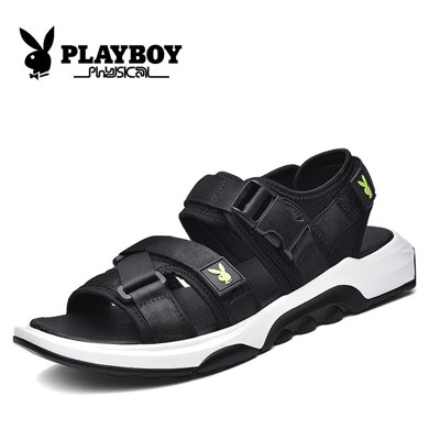 花花公子男鞋夏季涼鞋透氣沙灘鞋2018新款青年男士羅馬鞋露趾鞋子CX39408