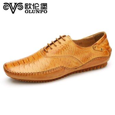 歐倫堡春季新品豆豆休閑皮鞋男蟒蛇紋真皮流行男鞋低幫鞋 偏小一碼CABA1502