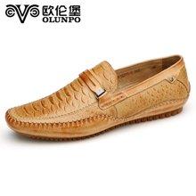 欧伦堡 时尚休闲皮鞋潮流男士真皮套脚驾车鞋 秋季新款潮鞋 标准尺码CABA1501