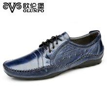 歐倫堡日常休閑手工皮鞋真皮英倫時尚駕車鞋休閑皮鞋男鞋QABA1407 標準碼