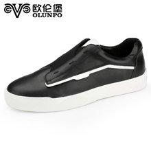 Olunpo/歐倫堡春季新款流行男鞋時尚低幫休閑鞋男英倫板鞋 舒適真皮QCY1640