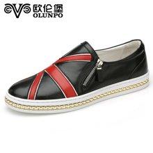 Olunpo/歐倫堡春季新款時尚潮流板鞋男 英倫真皮套腳日常男鞋 舒適真皮CCY1608