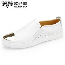 Olunpo/?#20223;妆?#26032;款 时尚简约真皮套脚男鞋 英伦休闲板鞋 板鞋CFSCP1603