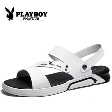 花花公子?#34892;?#22799;季新款凉鞋?#34892;?#30333;鞋韩版运动休闲沙滩鞋男士皮凉鞋CX39456