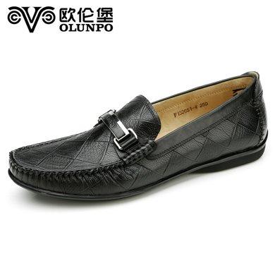 Olunpo/歐倫堡春季新款時尚休閑皮鞋低幫真皮駕車豆豆鞋CABA1601