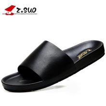 Z.Suo/走索皮拖鞋男涼拖夏外穿一字拖韓版個性皮拖男潮沙灘鞋大碼拖鞋 ZS19601