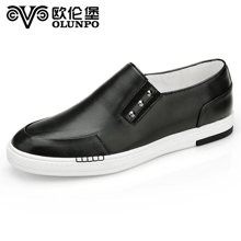 Olunpo/歐倫堡春季新款英倫真皮套腳休閑鞋男鞋 簡約日常板鞋CBT1602