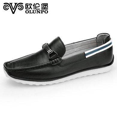 歐倫堡 夏季日常潮流駕車豆豆鞋男英倫真皮休閑鞋男鞋CBT1601