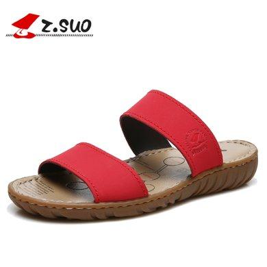 Z.Suo/走索一字拖鞋女夏時尚外穿平底百搭羅馬皮涼鞋涼拖鞋皮拖鞋女鞋 ZS6619