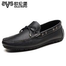 欧伦堡春季新款英伦时尚真皮驾车鞋男鞋皮鞋低帮休闲鞋豆豆鞋 标准皮鞋码CHLD1801