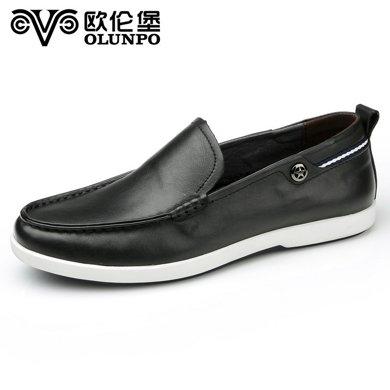 Olunpo/歐倫堡春夏新款時尚真皮男鞋英倫休閑鞋低幫套腳皮鞋CJSH1703