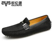 欧伦堡春季新品男士休闲皮鞋套脚真皮鞋 英伦时尚低帮鞋 标准码CCY1504
