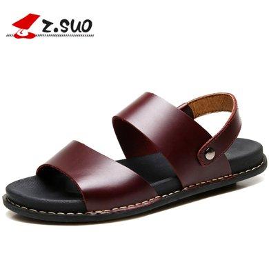 Z.Suo/走索男士涼鞋夏季韓版一字涼皮鞋羅馬皮涼鞋休閑沙灘鞋男潮 ZS16515