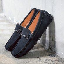 Simier2018新款夏季镂空透气男士休闲皮鞋豆豆鞋一脚蹬X1899