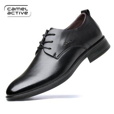 德国骆驼动感?#24515;行?#30007;士商务正装皮鞋子男韩版青年尖头黑色皮鞋 1777