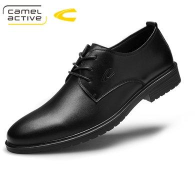 德國駱駝動感男鞋時尚皮鞋子男英倫商務正裝男士青年尖頭系帶鞋子男 18017